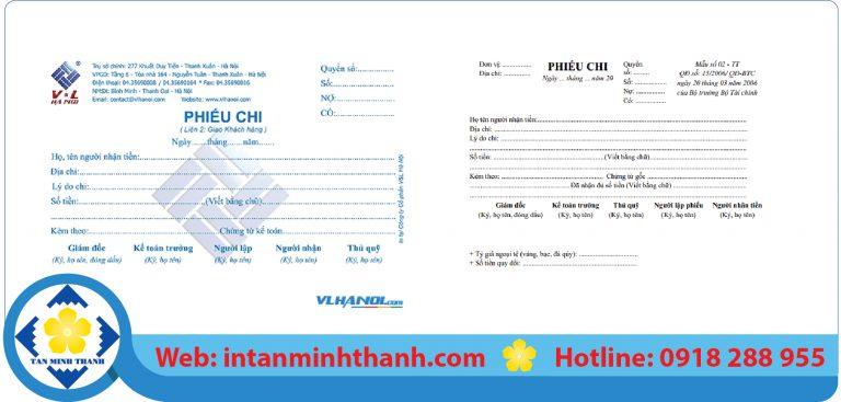 Dịch vụ in phiếu chi tại tphcm